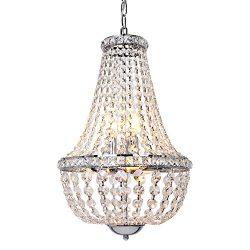 Hykolity 6-Light Crystal Pendant Chandelier Lighting, Modern French Empire Ceiling Light Fixture ...