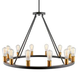 Kira Home Jericho 35″ 12-Light Large Rustic Farmhouse Wagon Wheel Chandelier, Round Kitche ...