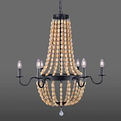 Wellmet 6 Lights Farmhouse Wood Beaded Chandelier for Bedrooms, 32 Inch Black Foyer Chandelier f ...