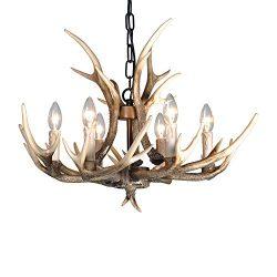 Resin Antler Chandelier ,6 light Deer Antler Channdelier Vintage Style for Living Room Dining Ro ...
