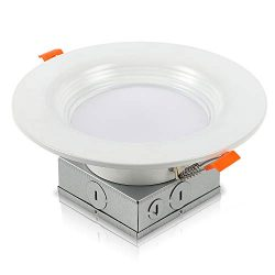 20 Pack 6 Inch Recessed Lighting with Junction Box Dimmable Canless Ceilling Light Baffle Trim 1 ...