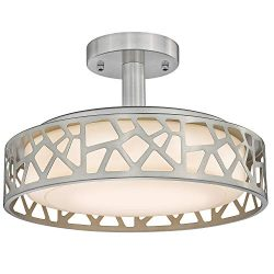 14inch Semi-Flush Mount Ceiling Light, VICNIE 20W Dimmable Close to Ceiling Light Fixture, LED 3 ...