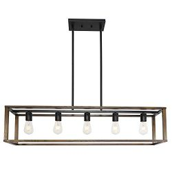 VINLUZ Farmhouse Wood Light Fixtures Rectangle Dining Room Chandeliers Classical Style 5 Lights  ...