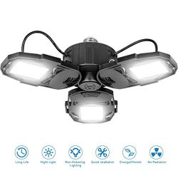 80W LED Garage Lights, Deformable Garage Light with 3 Adjustable Wings, 8000LM, E26 LED Shop Lig ...