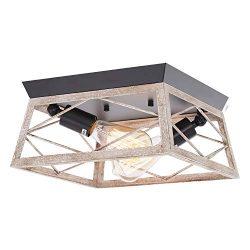 HMVPL Flush Mount Close to Ceiling Light, Farmhouse Industrial Lighting Fixtures Mini Ceiling La ...