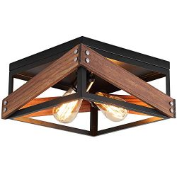 Rustic Industrial Flush Mount Light Fixture Two-Light Metal and Wood Square Flush Mount Ceiling  ...
