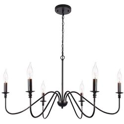 T&A Black 6-Light Chandeliers,Classic Candle Ceiling Pendant Light Fixture,Wrought Iron Farm ...