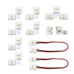 MYPLUS 3528 2Pin LED Strip Lights Connector Kit, Strip to Strip Solderless Connector, 2X LED Str ...