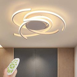 Modern Ceiling Light,Metal and Black Acrylic Lampshade Remote Control Nature White and Warm Whit ...