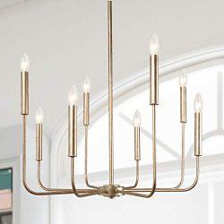 LALUZ A03225 Champagne Gold 8-Light High End Modern Chandelier for Dining, Bedroom, Living Room  ...
