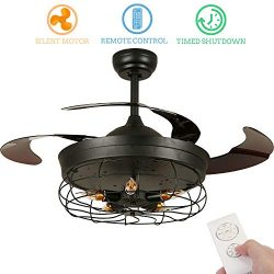 42 inch Vintage Retractable Ceiling Fan with Light, Black Chandelier Ceiling Fan Retractable Bla ...