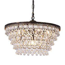 Wellmet Crystal Chandeliers, 6 Lights 5 Tiers Crystal Light, Adjustable Ceiling Light, Modern Ch ...