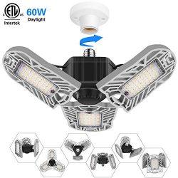 Garage Lights LED, MRLI 60W Deformable Garage Light with 3 Adjustable Wings Ceiling Light Bulbs  ...