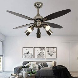 Modern Black Ceiling Fan With 5 Rotatable Light Set, Remote Control, Indoor Quiet Fan Chandelier ...