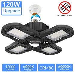 LED Garage Light 120W, Upgrade 4 Panels 12000LM Deformable E26 Garage Ceiling Lighting, Adjustab ...