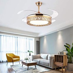 42 Inch Modern Gold Invisible Ceiling Fan with Light and Remote Control, Ceiling Fan Chandelier  ...