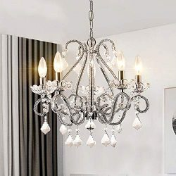Modern Crystal Chandeliers Pendant Ceiling Lighting Fixture with Clear Crystal for Dining Room,B ...