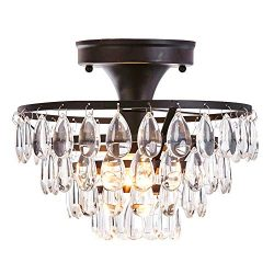 FERWVEW Black Crystal Ceiling Light, Flush Mount Ceiling Light Fixture Ceiling Lamp with Crystal ...