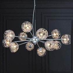 MEEROSEE Sputnik Chandeliers Modern Pendant Lighting Wired Chrome Aluminum Large Chandelier W31. ...