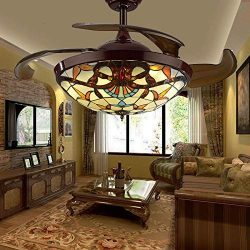 TC-Home Baroque style LED Ceiling Fan Light 4 Retractable blades Warm White Light 42 inch w/remo ...