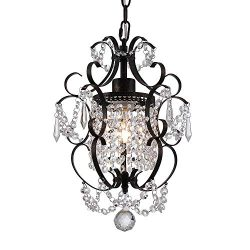 Riomasee Mini Chandelier Antique Bronze Chandeliers 1 Light Elegant Chandelier Crystal Iron Ceil ...