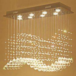 Moooni Modern Rectangular Crystal Chandelier Lighting Wave Raindrop Pendent Flush Mount Ceiling  ...