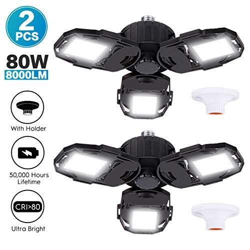 Led Garage Lights 2-Packs, 80W 8000LM Deformable Triple Glow Garage Lighting with 3 Adjustable L ...