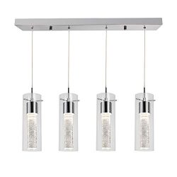 Hykolity 4-Light Pendant Ceiling Fixture, Integrated LED Kitchen Lighting, 26W (150 Watt Equival ...