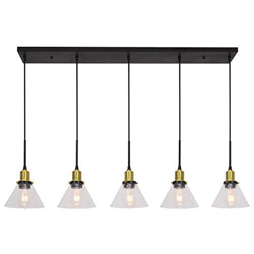 Banato 5 Lights Pendant Lighting for Kitchen Island Modern Chandeliers Black and Brushed Brass D ...