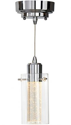Polished Bubble Glass Single Hanging Pendant Light Fixture | Glass Surrounded LED Lighting Fixtu ...