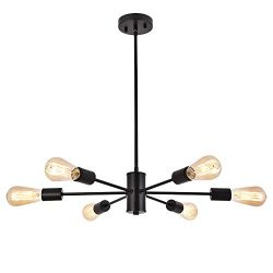 COTULIN Modern 6-Lights Black Sputnik Chandelier, Pendant Light for Living Room Bedroom Kitchen, ...