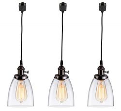 KIVEN 3-Lights H-Type Track Lighting Pendants, Dimmable Pendant Lights Oil-Rubbed Bronze Hanging ...