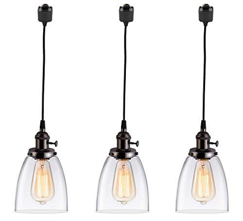 KIVEN 3-Lights H-Type Track Lighting Pendants, Dimmable Pendant Lights Oil-Rubbed Bronze Hanging ...