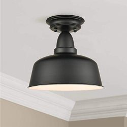 Farmhouse Matte Black Ceiling Light Fixture Rustic Barn Flush Mount Ceiling Lights
