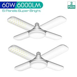 2 Pack 60W Deformable LED Garage Lights, 6000LM E26 LED Garage Ceiling Lights with 4 Adjustable  ...