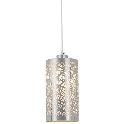 Popity home Modern Length Adjustable Hanging Dining Room Silver Linear Pendant Light, One-Light  ...