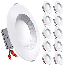 Freelicht 10 Pack 5/6 Inch Slim LED Downlight with Junction Box, 15W=110W, 1200 LM, Dimmable, 50 ...