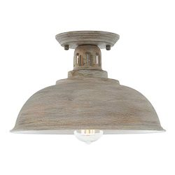 HMVPL Farmhouse Close to Ceiling Light, Vintage Semi Flush Mounted Lighting Fixture Industrial C ...
