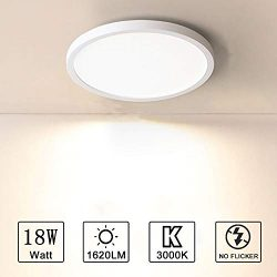 Combuh Ceiling Light 18W 7 Inch Round Flush Mount LED Close to Ceiling Lamp Fixture Warm White 3 ...