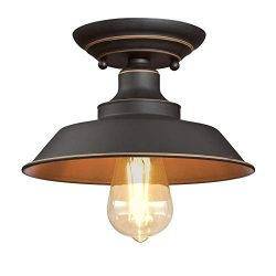 Westinghouse Lighting 6370100 Iron Hill 9-Inch, One-Light Indoor Semi Flush Mount Ceiling Light, ...