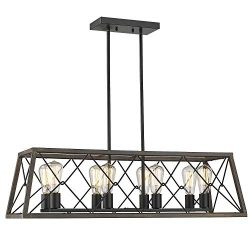 Zeyu 8-Light Kitchen Island Lighting, Farmhouse Linear Pendant Light in Wood and Black Finish, 0 ...