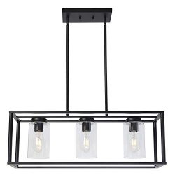 VINLUZ Contemporary Chandeliers Black 3 Light Modern Dining Room Lighting Fixtures Hanging, Kitc ...
