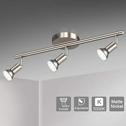 Unicozin LED 3 Light Track Lighting Kit, Matte Nickel 3 Way Ceiling Spot Lighting, Flexibly Rota ...