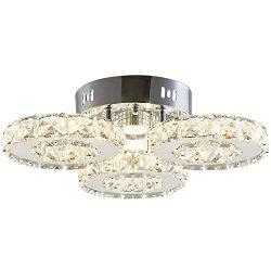 TongLan Crystal Ceiling Light Fixture Flush Mount 3 Rings Big Modern Crystal Chandelier Stainles ...