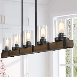 Farmhouse Chandeliers for Dining Room,5-Lights Kitchen Island Lighting,Rectangle Wood Chandelier ...
