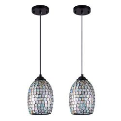 SHENGYADI Modern Mini Pendant Light with Hand Crafted Mosaic Shape, Colored Glass Pendant Lighti ...