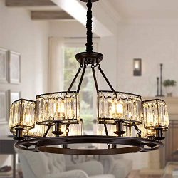 OSAIRUOS Rustic Crystal Chandeliers Modern Contemporary Ceiling Light Fixtures Vintage Pendant L ...