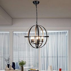 DLLT Pendant Light Metal, 5-Light Globe Pendant Lighting, Adjustable Hanging Ceiling Chandelier  ...