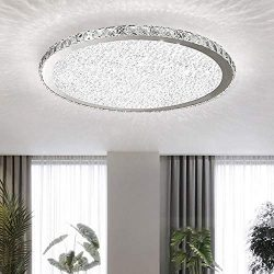 Ladiqi Crystal Round LED Flush Mount Ceiling Light Luxury Modern Close to Ceiling Light Indoor C ...