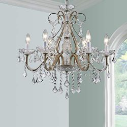 BESTIER Antique Silver Vintage Candle Chandelier Crystal Lighting Fixture Lamp for Dining Room B ...